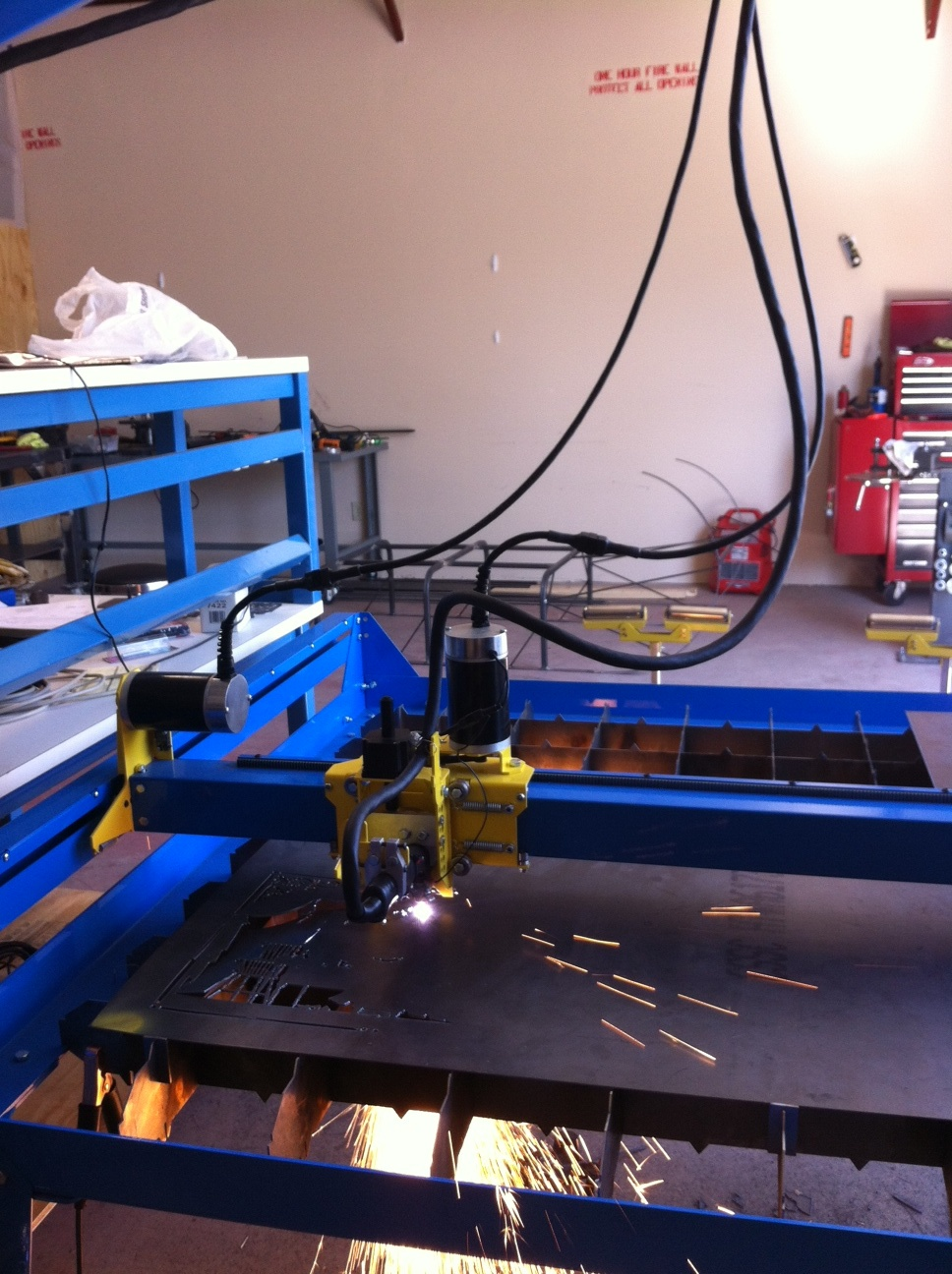 Cutting precision parts in our shop.